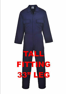 """PORTWEST COVERALL,TALL LEG 33"""" NAVY BLUE,OVERALL,BOILER SUIT, SMALL TO 5XL,STUD"""