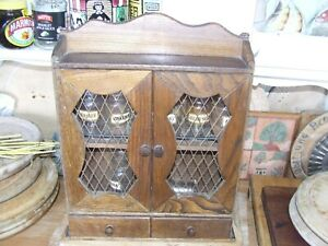 Vintage Kitchenalia - 2 Tier   spice cabinet and glass Jars  and two draws