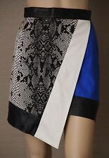SHAKUHACHI Size 8 Multi-Fabric Wrap Style SKIRT Faux Leather, Silk, Blue