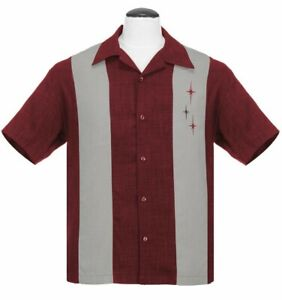 Steady Clothing 3 Star Panel Burgundy Rockabilly Bowling Button Up Shirt ST35319