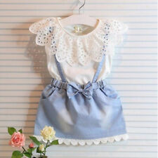 Toddler Kids Baby Girls Princess Lace Dress Denim Dress Outfits Summer Clothes