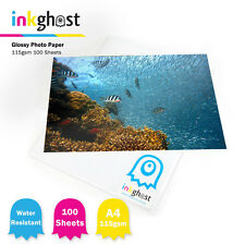 100 X High Super Glossy Inkjet Photo Paper 115gsm A4 Water Resistant Photo