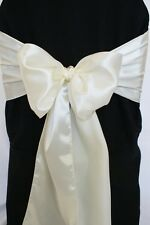 """100 Satin Chair Cover Sash Bows 6""""x108"""" 30 Colors Made in U.S.A Wedding Party"""