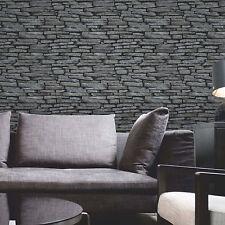Debona réaliste brique mur de pierre noir gris crème murale synthétique effet papier peint
