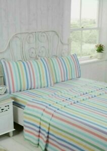 Candy Stripe Super Soft Brushed Cotton Flannelette Flat Fitted Sheet Set