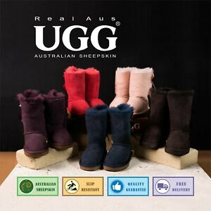 "Ugg Real Aus 100% Australian Sheepskin Wool Women 9"" Bailey Bow Boots Chestnut"