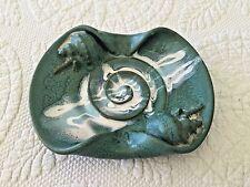 Green Seashell Art Pottery Candle Holder/Ashtray Signed Oswald