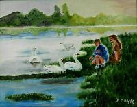 "M. JANE DOYLE SIGNED ORIGINAL ART OIL/CANVAS PAINTING ""FEEDING THE SWANS"" FRAMED"