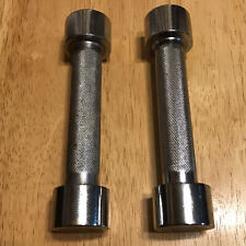 Retro Interchangeable Chrome 2 Lb Dumbbell Hand Weights Pair of 2 Screw Off