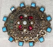 Vintage Sandor Co. Oval Filigree Brooch w/Ruby Art Glass, Faux Pearls, and Ename