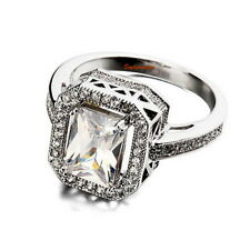 18k White Gold Plated Women's Fashion Engagement Ring Size 5 R74
