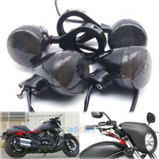 4x Motorcycle LED Turn Signal Light 41mm Front Rear Fork Clamp Black For Harley