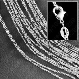 """Wholesale 10/20X 16""""~24""""Jewelry 925 Sterling Silver Plated 1.2MM Chain Necklaces"""