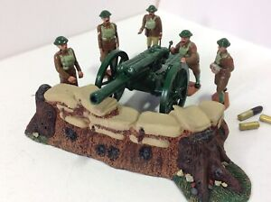 Modern Metal British Artillery emplacement with field gun.