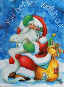 """You Better Watch Out Standard House Flag by Toland 24"""" x 36"""", Santa #1254"""