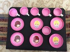Tin Metal Mini Cups & Saucers 12 Piece Lot Set Toys