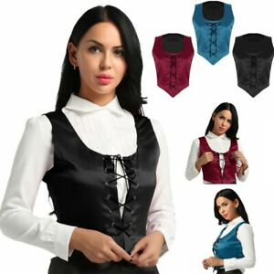 Medieval Women Reversible Lace Up Corset Renaissance Pirate Wench Bodice Costume