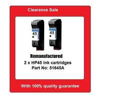 2x HP45 (6645A) ink cartridges for HP DJ1120,890C,OJ1170,T65, PS1110 printers