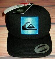 MENS QUIKSILVER BLACK HAT SNAPBACK ADJUSTABLE CAP ONE SIZE