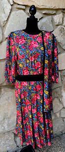 Vintage Diane Freis Silk Dress Size S M Pink Black Floral Smocked Waist Scarf