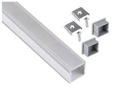 Aufbau Alu Profil eloxiert 1m Eckig SET + Abdeckung opal + Endkappe für LED Band