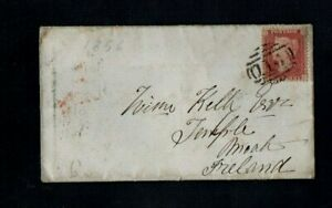 1858. COVER. QV 1d RED 'STARS' WEETING-BRANDON-LONDON-DUBLIN-MOATE, WESTMEATH.