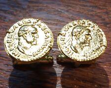 Ancient Roman Emperor Galba Gold Plated Unique Coin Cufflinks + Gift Box!