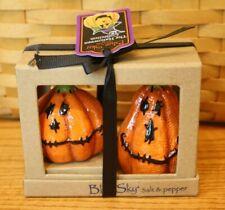 New Blue Sky Clayworks Fall Halloween Pumpkin Salt Pepper Shakers Jack O Lantern