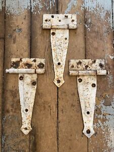 """3 Vtg Antique T Strap barn door hinges 12"""" Rust Ok'd White paint and patina"""
