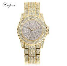 Fashion Ladies Bling Watches Fashion Quartz Diamond Rhinestone Wristwatch Gold