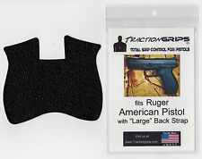 Rubber grip tape overlay for Ruger American pistols with large pistol backstrap