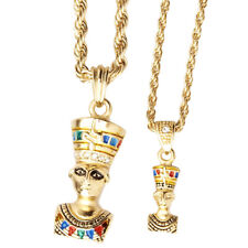 Iced Out Bling Mini Pendant Chain Set - 2 x EGYPT QUEEN gold
