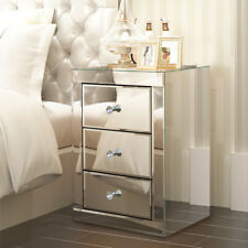 Bedding 3x Drawers Mirrored Bedside Table Cabinet Silver Glass Nightstand UK