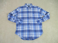 Ralph Lauren Polo Button Up Shirt Adult Large Blue White Plaid Casual Mens B39*
