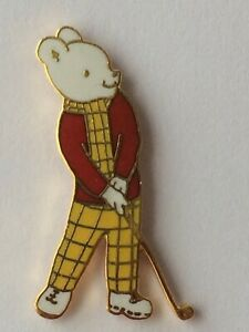 RUPERT BEAR Collectable Badge * RUPERT GOLFER (c) Express Rainbow Designs *