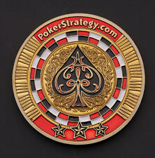 Guard Card Protector Coin Chip Metal Poker Gold Plated + Round Plastic Case