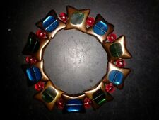 BRACELET - STAR SHAPE - (BLUE)-(GREEN) WITH RAINBOW RED BEADS - (55)
