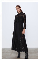 Zara Womens Lace Shirt Dress S Black Long Sleeve Belted 2731/284 NWT