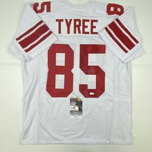 Autographed/Signed DAVID TYREE New York White Football Jersey JSA COA Auto