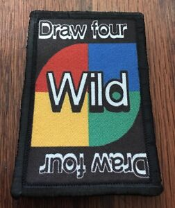 UNO Draw 4 Card Morale Patch Tactical Military Army Flag USA Badge Hook