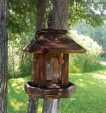 Tall Hanging Cedar Wood Gazebo Style Bird Feeder, Square, TBNUP #1HB