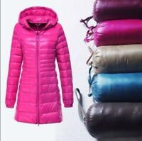 Women's Winter Ultralight Long 90% Down Hooded Jacket Puffer Parka Coat S-6XL