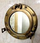 "Antique Brass 12"" Porthole Nautical Maritime Ship Boat Wall Mirror Home Decor"