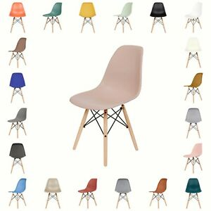 Fusionwell DSW Eiffel Style Plastic Dining Chair with Beech Wood Legs Base