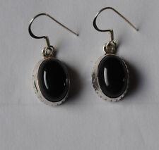 925 Sterlingsilber Ohrringe mit schwarzen Onyx Edelsteinen, oval Cabochons