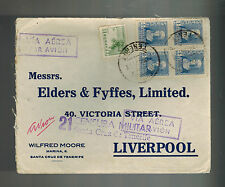 1937 Tenerife Spain Censored Commercial Cover to Liverpool England