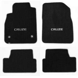 NEW! BLACK FLOOR MATS 2010-2014 Chevy Cruze with Silver Embroidered Logo set 4