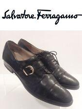 Salvatore Ferragamo women's Black Lace up Heeled Oxford size 10 2 A Extra Narrow
