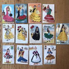Vtg Spanish Embroidered Postcard Madrid Portugal Flamenco Dancers Elsi Gumier