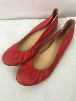 J.Crew Factory Leather Ballet Flats Womans Size 8 Red Round Toe Slip On
